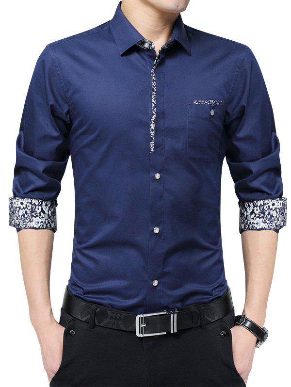 Floral Print Pocket Long Sleeve Shirt - DEEP BLUE XL