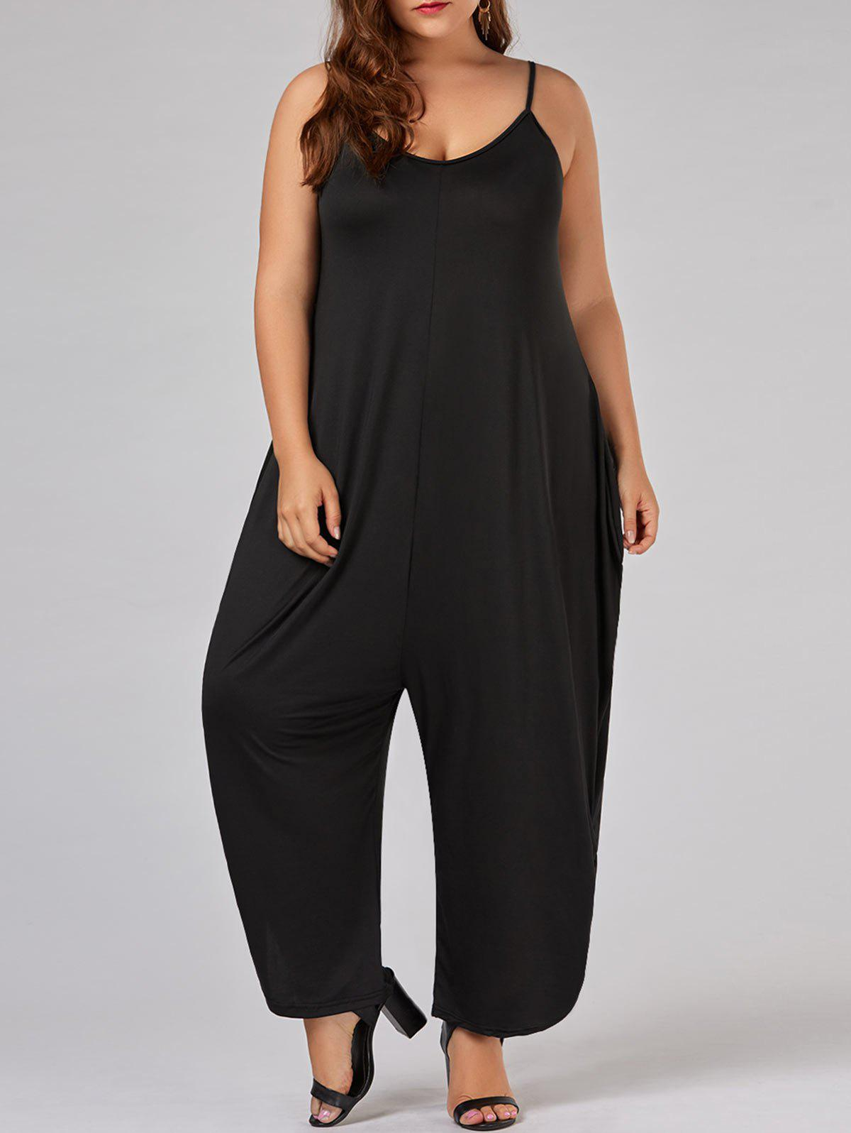 Plus Size Low Cut Spaghetti Strap Baggy Jumpsuit - BLACK 7XL