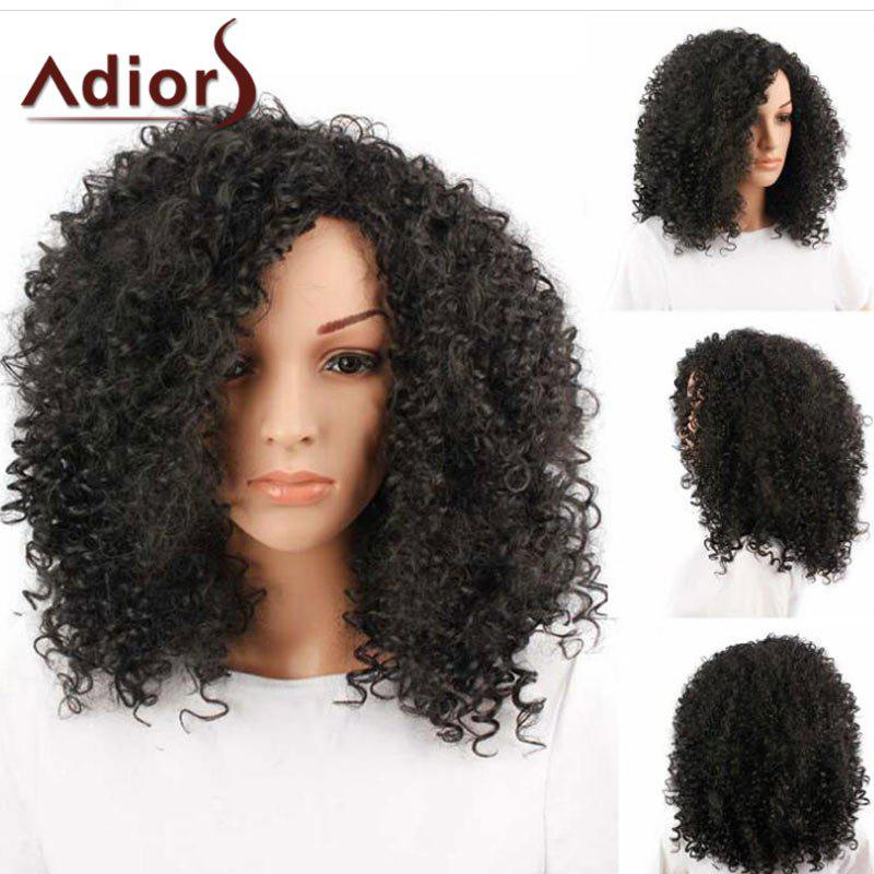 Adiors Side Bang Shaggy Medium Afro Curly Synthetic Wig adiors medium oblique bang shaggy afro curly colormix synthetic wig