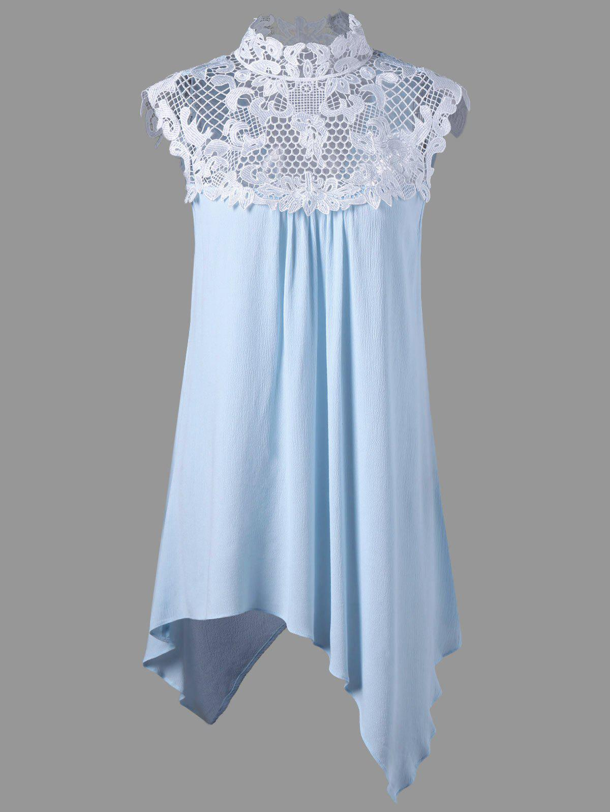 Lace Panel Cutout Plus Size Asymmetrical Top - LIGHT BLUE 3XL