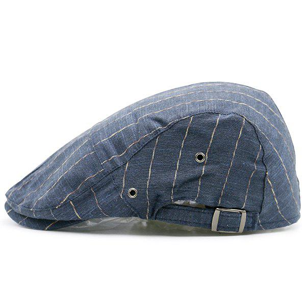 Retro Shimmer Striped Newsboy Hat - CERULEAN