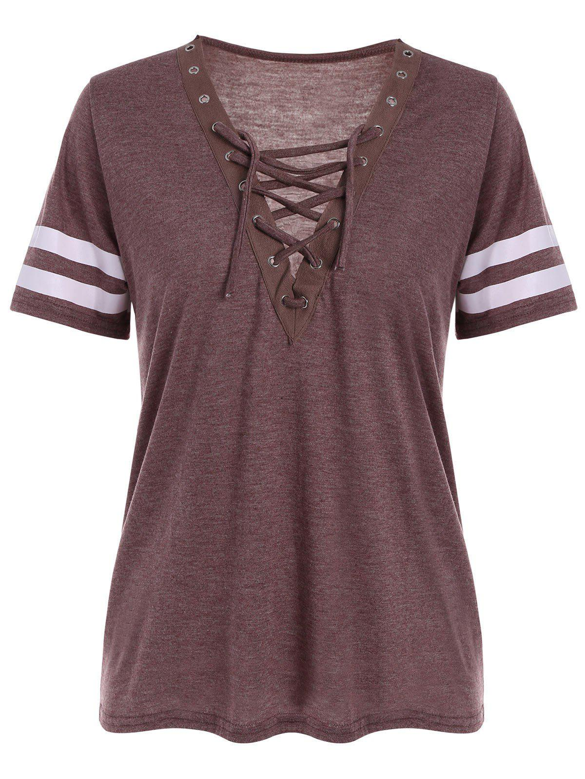 Grommet Lace Up Striped Tee grommet lace up plunge neck tee