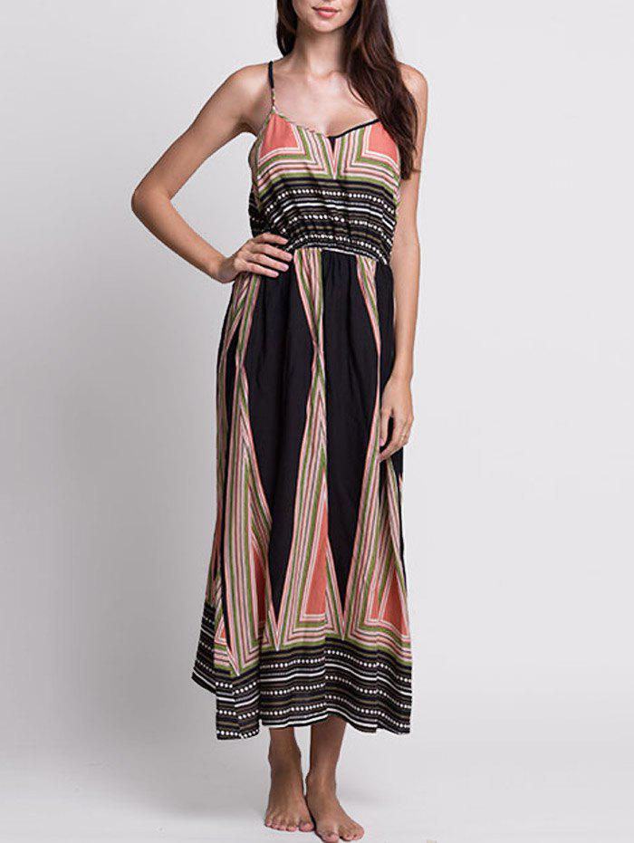 Printed Long Bohemian Slip Dress - multicolore S