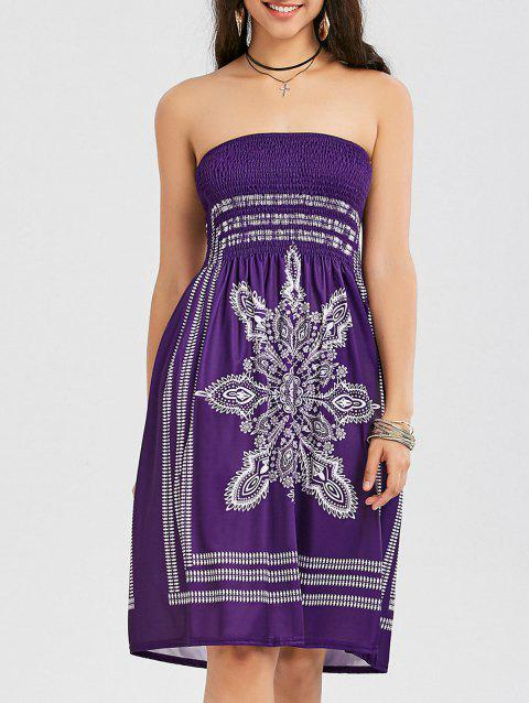 Bohemian Tribal Print Bandeau Dress - PURPLE XL