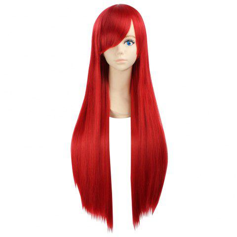 Ultra Long Naruto Cosplay Side Bang Layered Straight Synthetic Anime Wig - RED