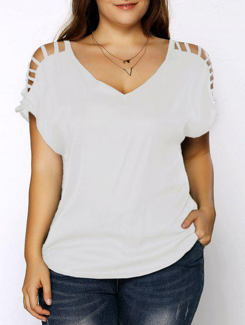 Plus Size Ripped Sleeve V Neck T-Shirt - WHITE 3XL