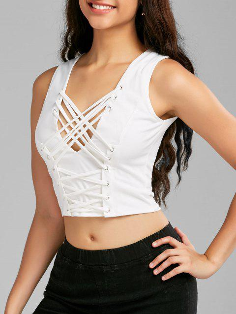 cb66258aa9187 LIMITED OFFER  2019 Lace Up Low Cut Zipper Crop Top In WHITE S ...