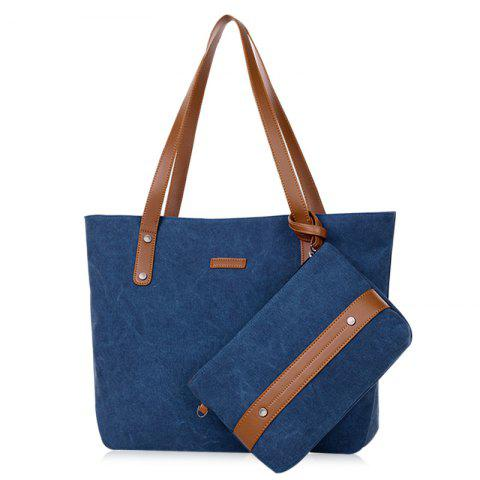 Summer Weekender Canvas Tote with Wristlet Pouch - BLUE