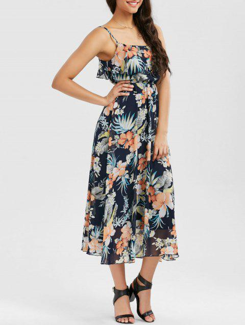 Ruffle Floral Print Chiffon Slip Dress - COLORMIX XL