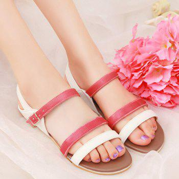 Colour Block Faux Leather Flat Heel Sandals