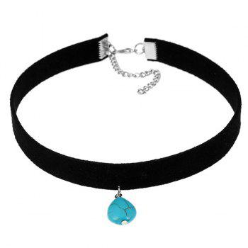 Waterdrop Faux Turquoise Choker Necklace