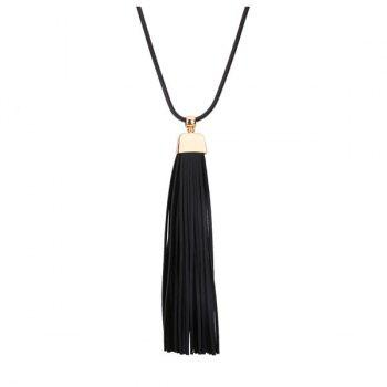 Faux Leather Tassel Pendant Necklace