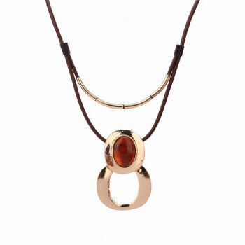 Resin Faux Leather Infinity Pendant Necklace