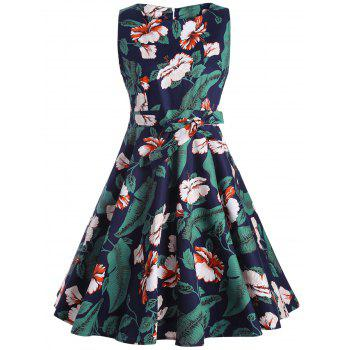Sleeveless Floral Knee Length Fit and Flare Dress