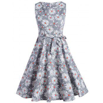 Sleeveless Floral Fit and Flare Vintage Dress