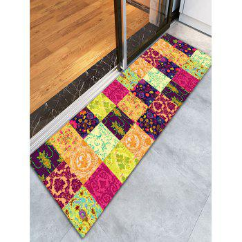 Floral Plaid Flannel Skidproof Bathroom Rug - YELLOW YELLOW