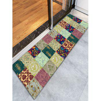 Floral Plaid Flannel Skidproof Bathroom Rug - COLORMIX COLORMIX