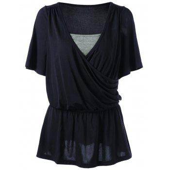 Cold Shoulder Elastic Waist Surplice T-shirt