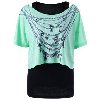 Chains Print Skew Collar Two Piece Top