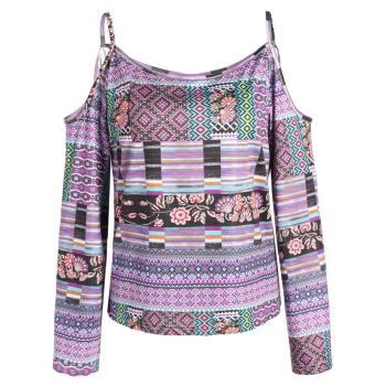 Long Sleeve Printed Cold Shoulder Top - COLORMIX COLORMIX