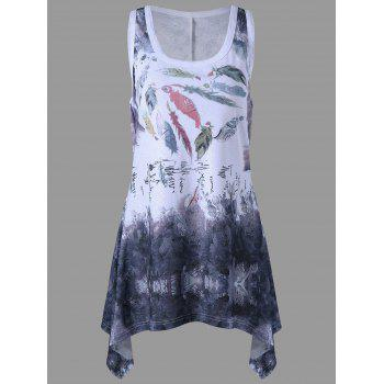 Plus Size Racerback Feather Print Tank Top