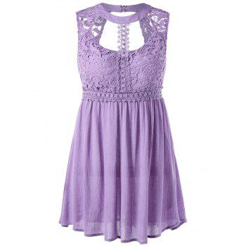 Lace Trim Cut Out Sleeveless Blouse