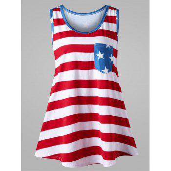 Plus Size American Flag Bowknot Embellished Tank Top