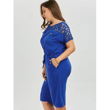 Brief Women's Round Neck Lace-Up Short Sleeve Romper - BLUE BLUE