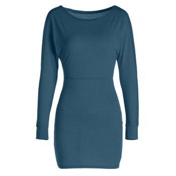 Sexy Long Sleeve Skew Neck Solid Color Slimming Women's Dress - DEEP GREEN L