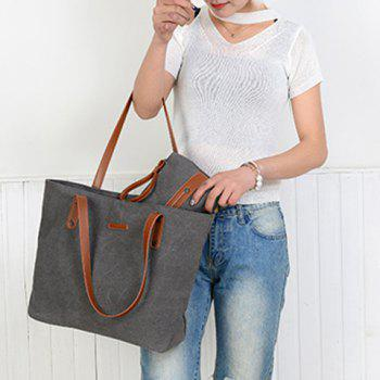 Summer Weekender Canvas Tote with Wristlet Pouch - GRAY