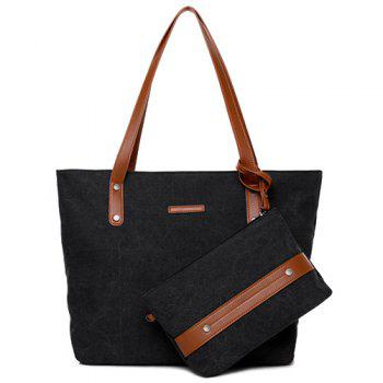 Summer Weekender Canvas Tote with Wristlet Pouch