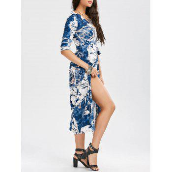Front Slit Floral Print Wrap Dress