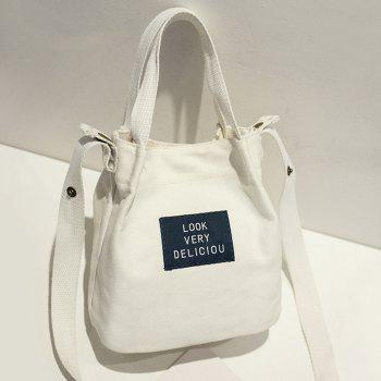 Letter Patches Zipper Canvas Handbag