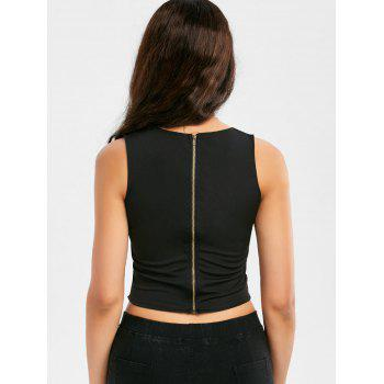 Lace Up Low Cut Zipper Crop Top - BLACK S