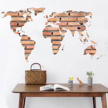 Stone Brick World Map Decorative Wall Sticker