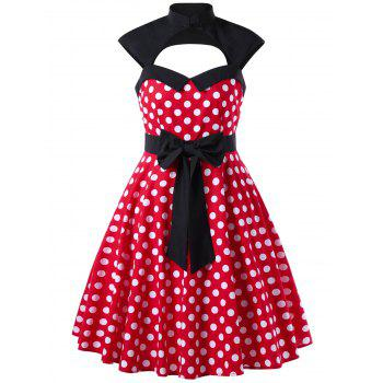 Polka Dot Cut Out Sleeveless 1950s Dress