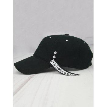Metal Circle Streamer Letters Embellished Baseball Hat -  BLACK