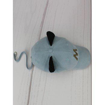 Cat Ear Metal Letter Embellish Hat with Long Tail -  LIGHT BLUE