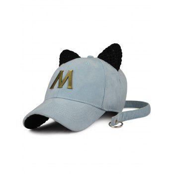 Cat Ear Metal Letter Embellish Hat with Long Tail - LIGHT BLUE LIGHT BLUE