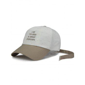 Letters Embroidery Adiustable Long Tail Baseball Hat - WHITE WHITE