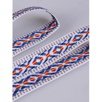 Ethnic Embroidered Woven Vintage Fringed Waist Strap -  BLUE STRIPE