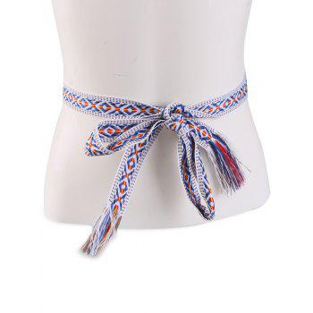 Ethnic Embroidered Woven Vintage Fringed Waist Strap - BLUE STRIPE BLUE STRIPE