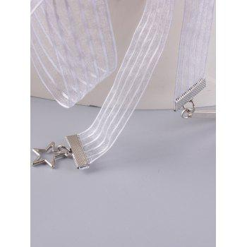 Ribbon Metal Pentagram Embellish Waist Strap -  WHITE