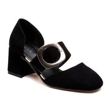 Square Toe Belt Buckle Mid Heel Pumps