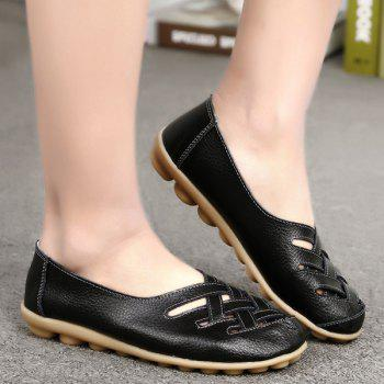 Criss Cross Faux Leather Flat Shoes