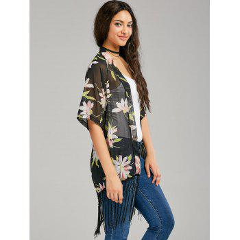 Fringe Print Long Sheer Chiffon Cape - COLORMIX COLORMIX