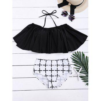Off Shoulder Flounce High Waisted Bikini Set