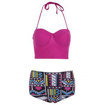High Waisted Geometric Print Halter Bikini