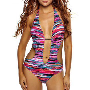 Halter Deep V Striped One-Piece Swimsuit