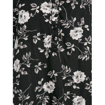 Criss Cross Backless Floral Print Dress - BLACK M